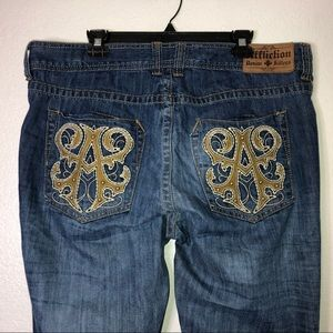 Sz 38 Affliction Denim Killers distressed jeans